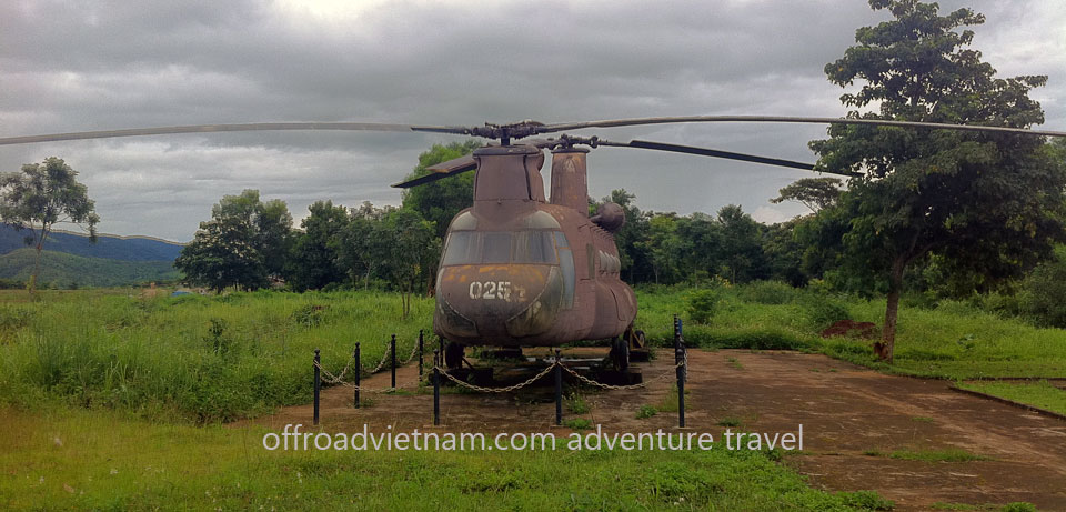 Vietnam Motorbike Hanoi Tours - Ho Chi Minh Trail. Vietnam Offroad Tours motorbike voyage down Ho Chi Minh trail. US Navy helicopter in open air museum