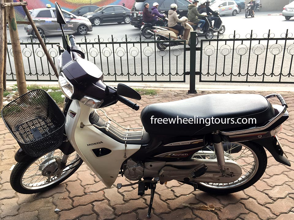 Hidden Vietnam Motorbike Tours - scooters for rent in Hanoi. Honda Super Dream/Cub semi-automatic 110cc